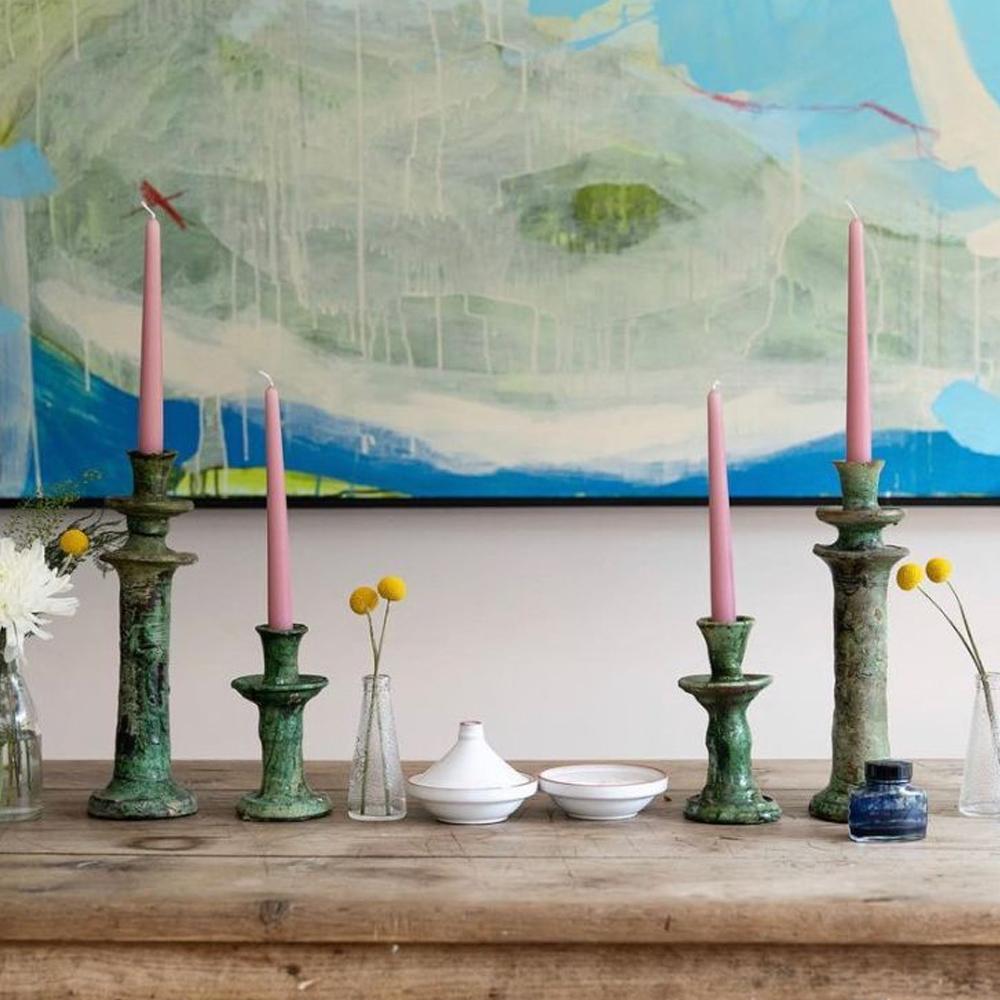 Medium glazed tamegroute candle holder set context 6