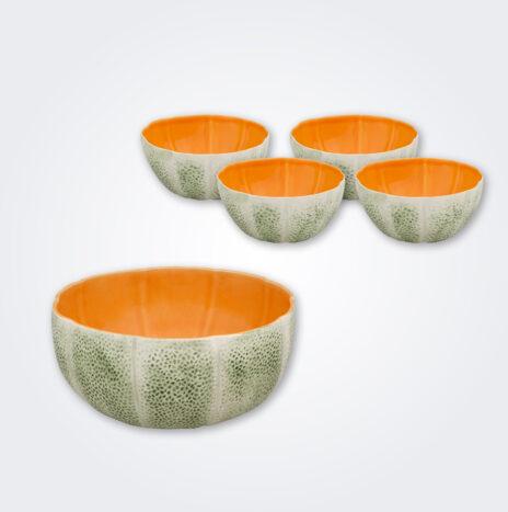 Melon Ceramic Fruit Bowl Set