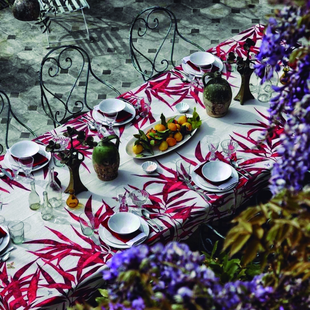 RED PALMIERS TABLECLOTH
