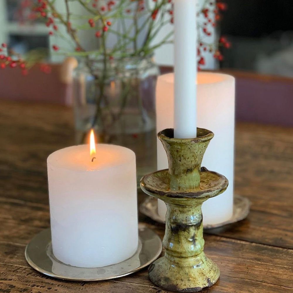 Yellow glazed tamegroute candle holder set context 2