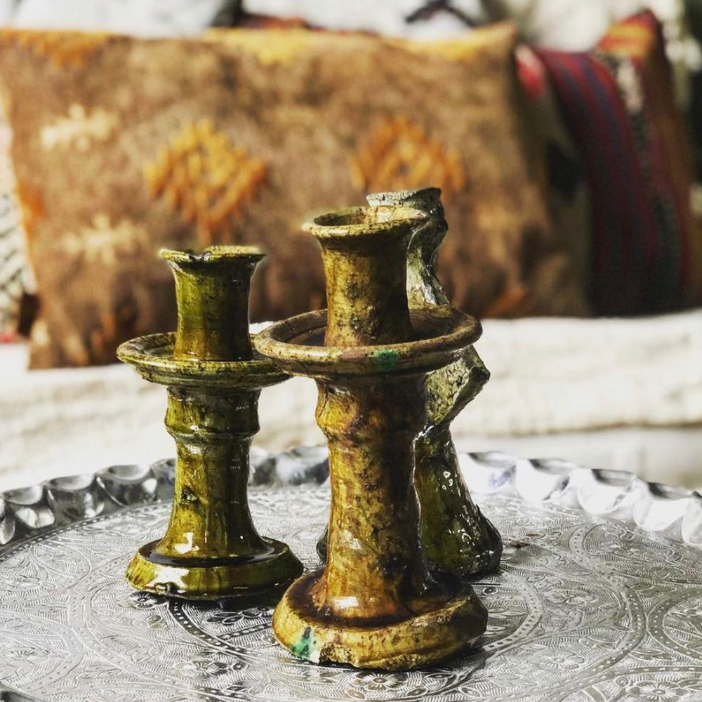 Yellow glazed tamegroute candle holder set context 3